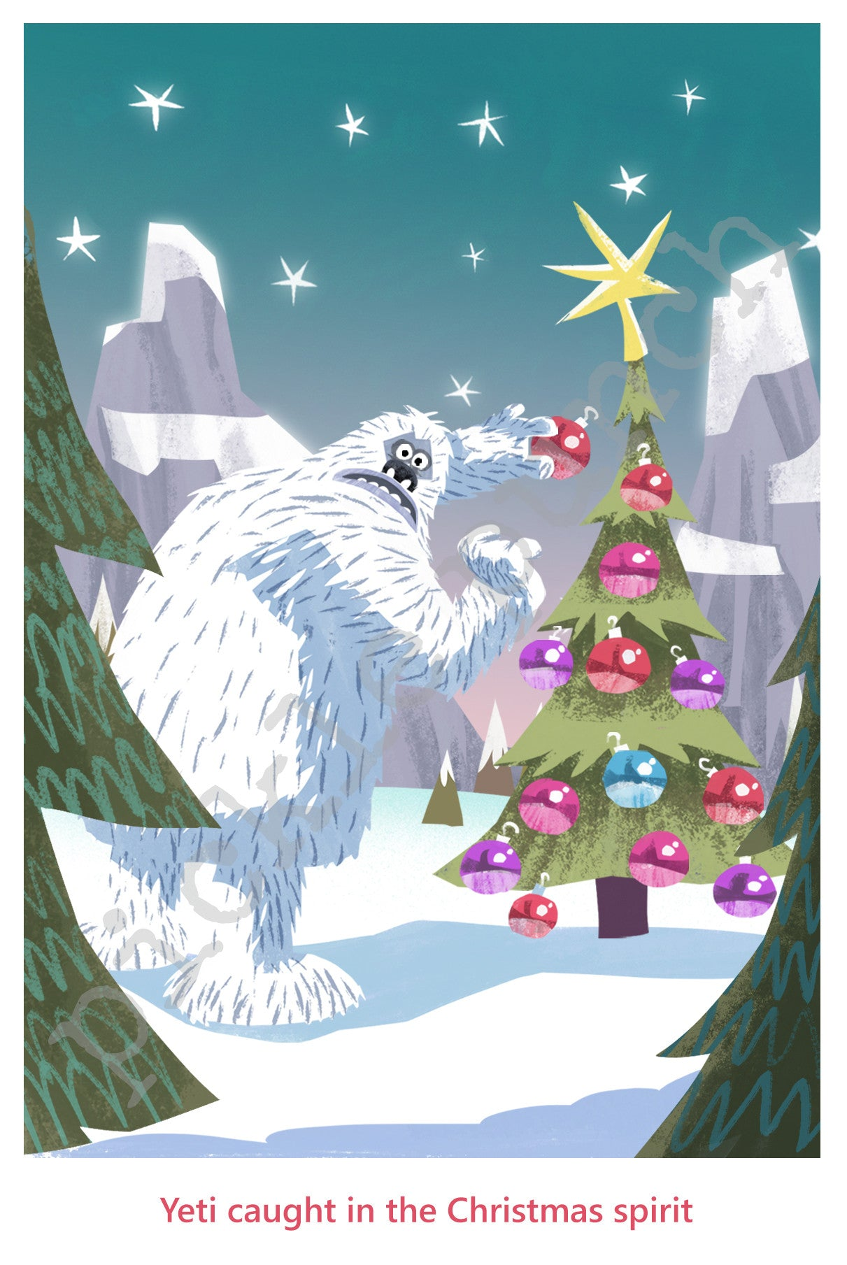 Yeti Christmas Card/ Abominable Snowman Card/ Yeti Art – Pickle Punch