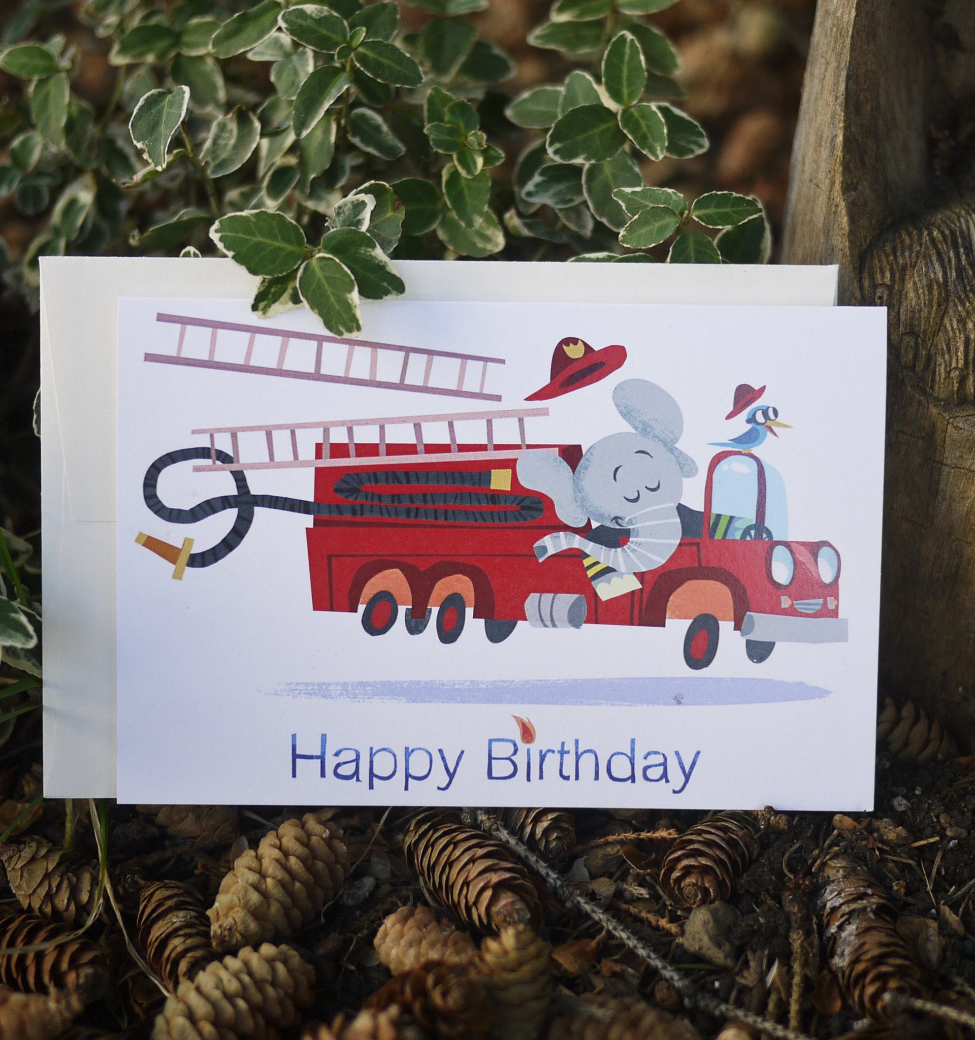 Firetruck Happy Birthday Card