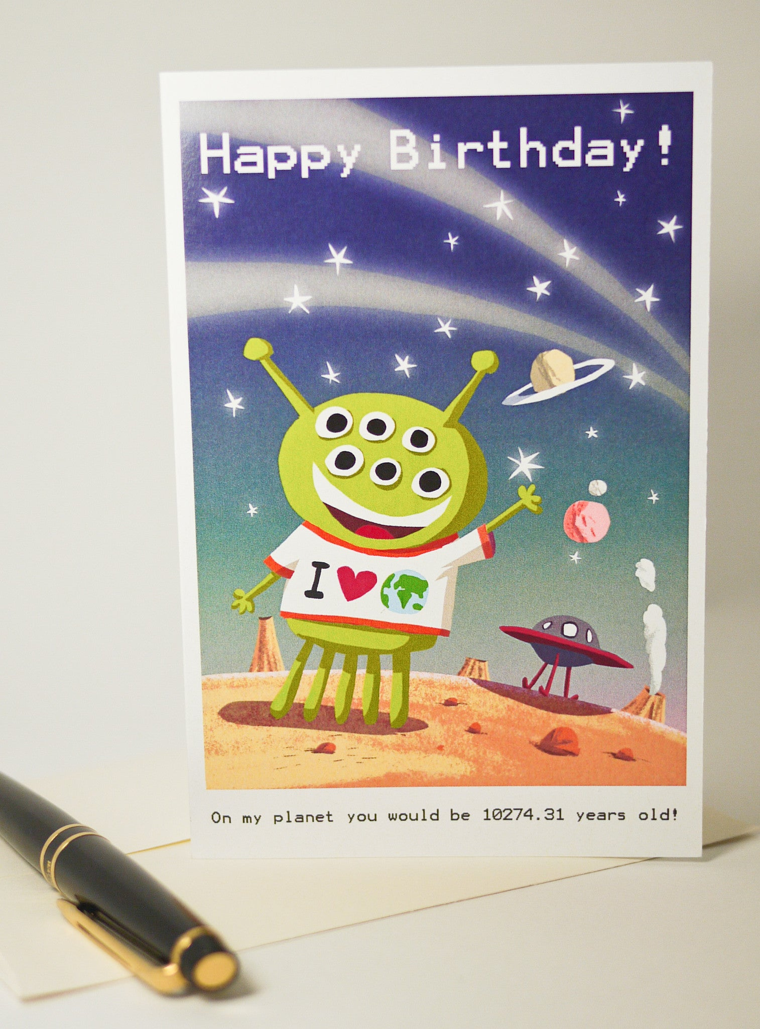 Alien Happy Birthday Card