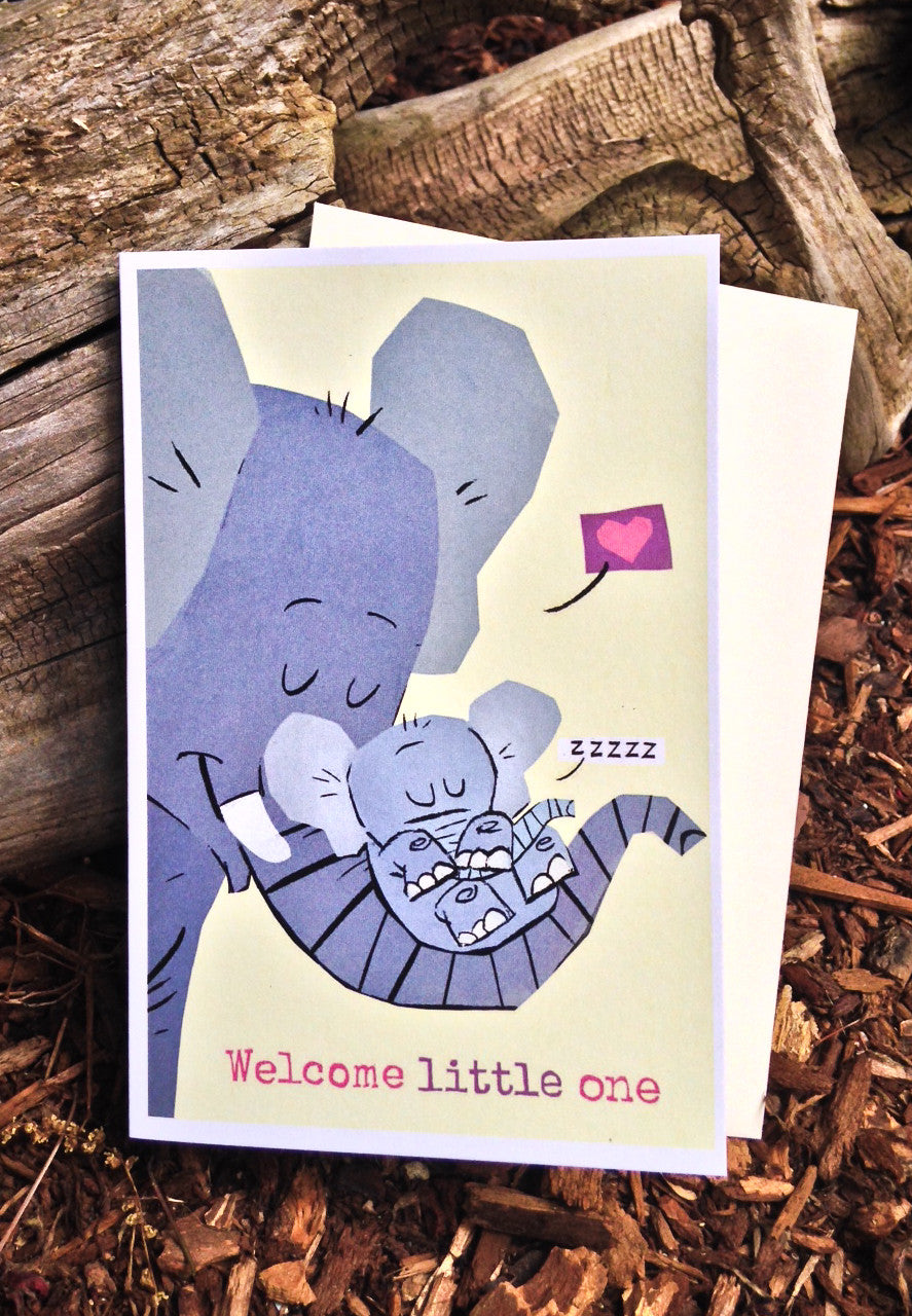 Elephants - Welcome Little One Card