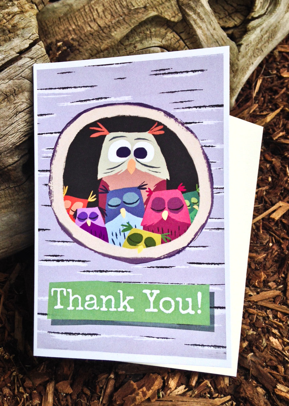 Owls Thank You Card - Scratch n' Sniff Series