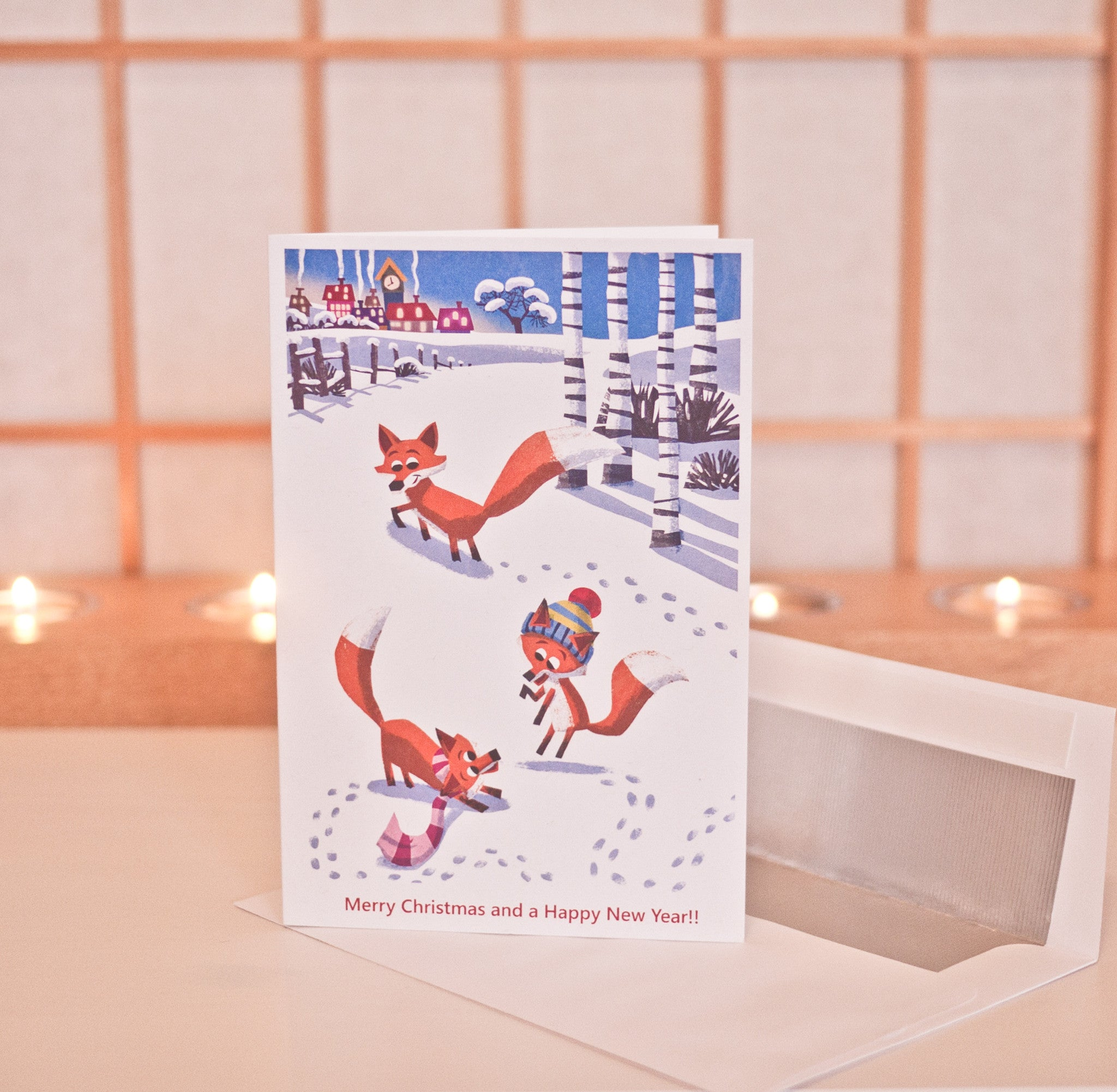 Foxes in Snow Card