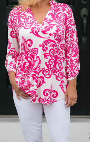 Fuchsia And White Print Top