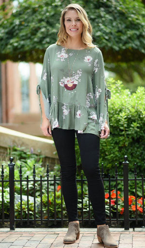 olive blouse with floral print