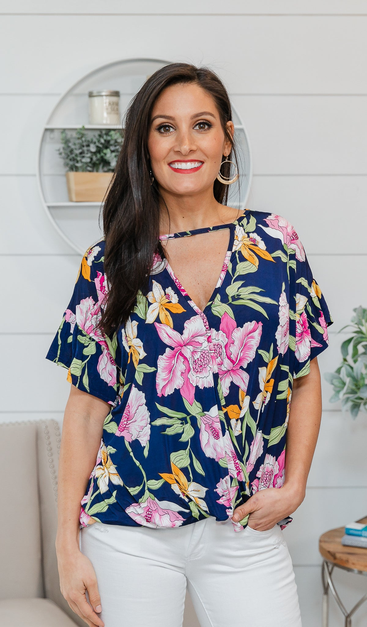 Tropical Feelings Top, Navy