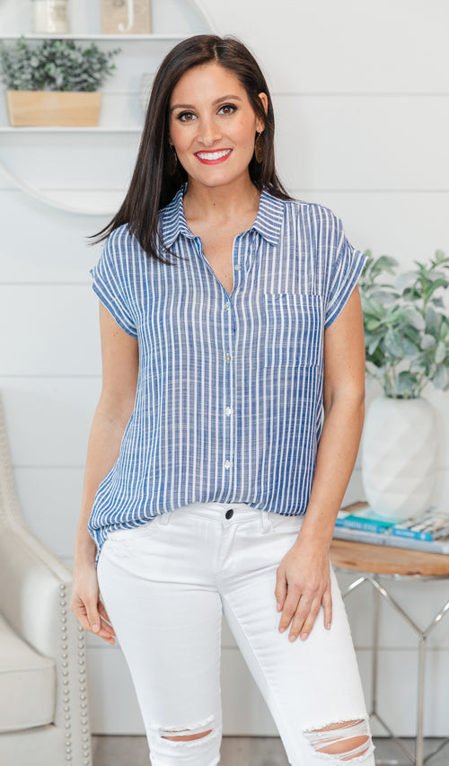 Meet Me At the Beach Button Down, Ivory & Navy Stripe