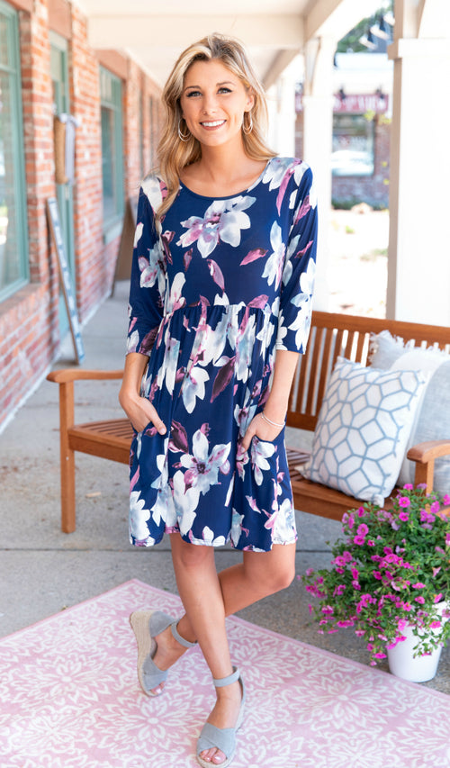 Today's a Breeze Dress, Navy Floral Print