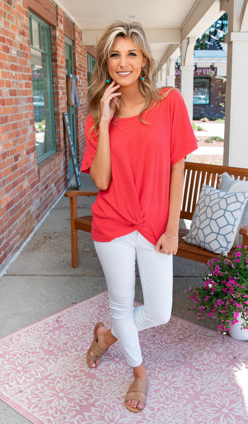 The Perfect Stroll Waffle Knit- Coral