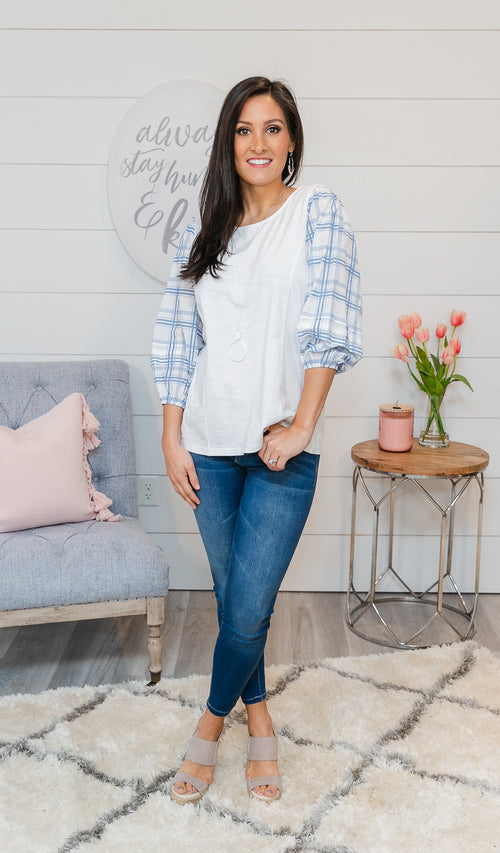 Easy Breezy Top, Blue & Ivory plaid