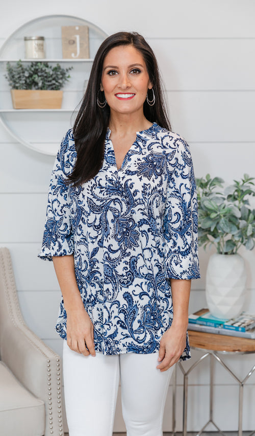 Big Expectations Blouse - Ivory, Navy