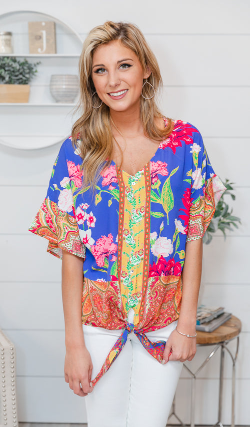 Ready to Blossom Top, Mix print