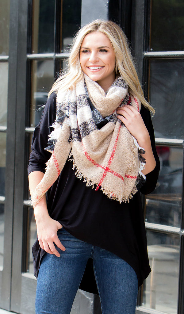 Life in Plaid Blanket Scarf, Tan