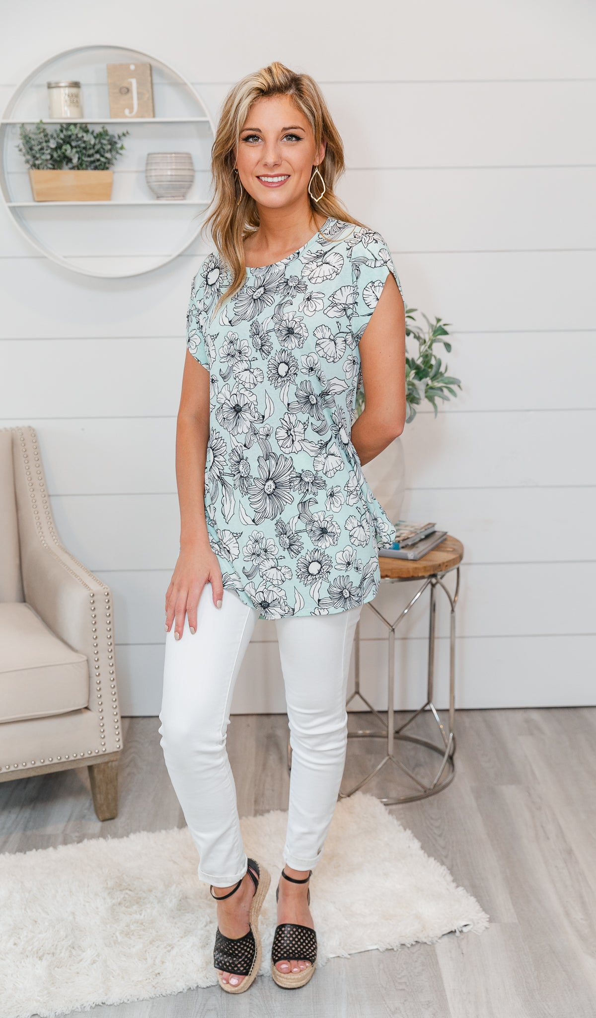 Lovely Floral Print Top- Mint