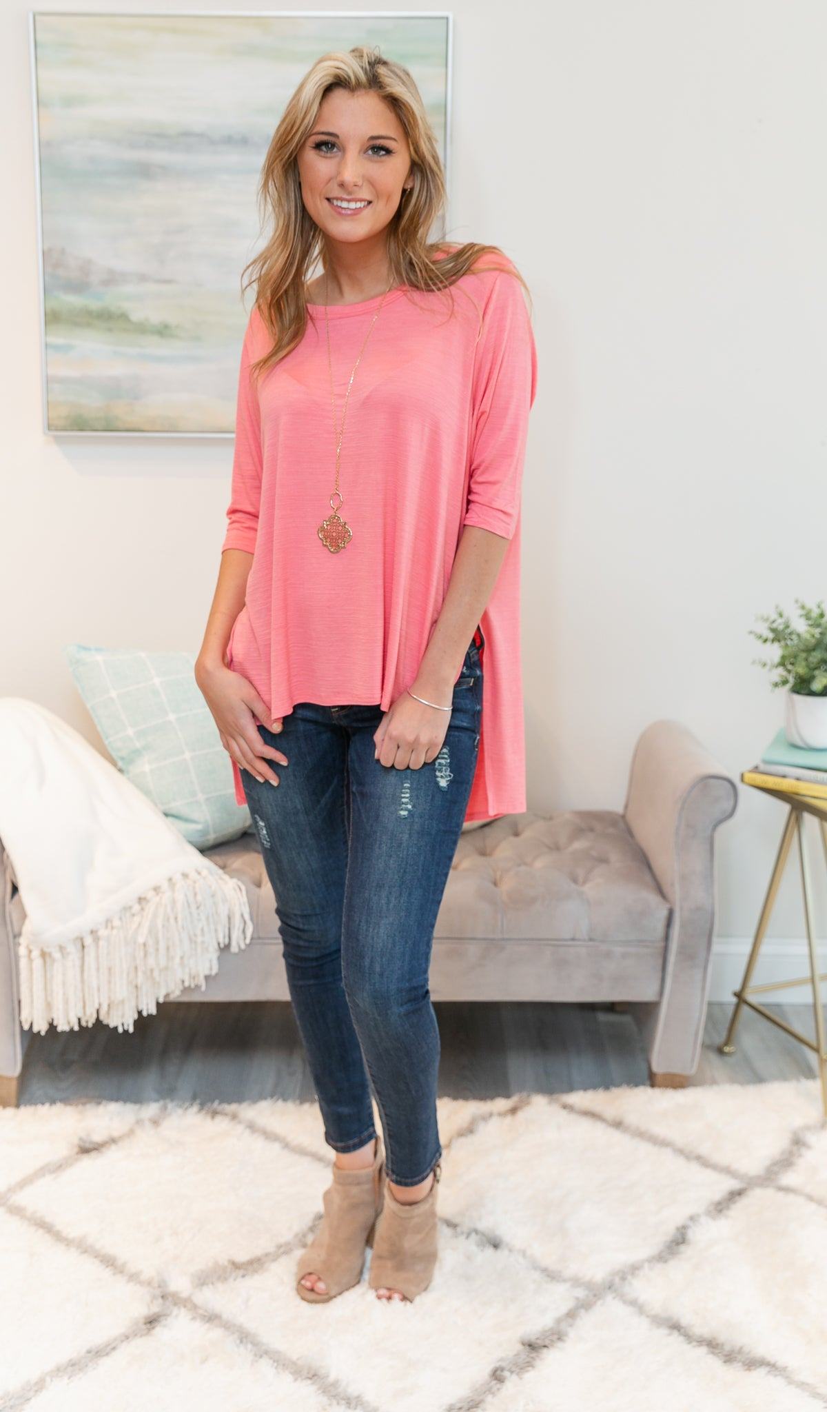 Basically Beautiful Top, Coral