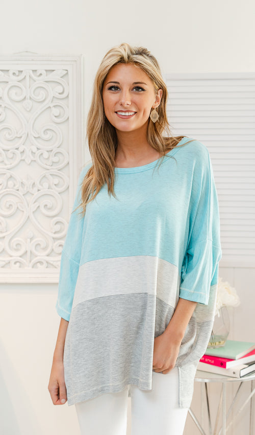 Block Party Tunic Top - Light Blue, Heather Grey