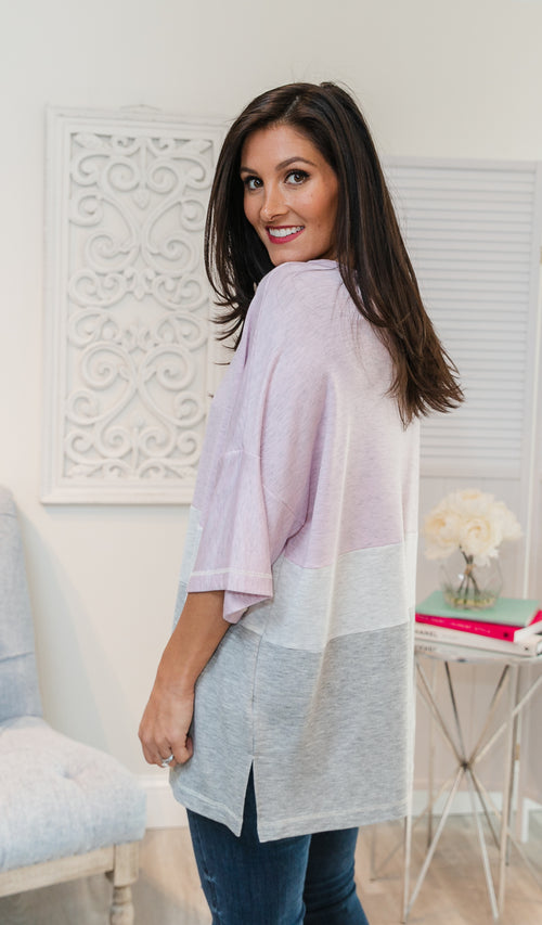 Block Party Top - Rose, Heather Grey