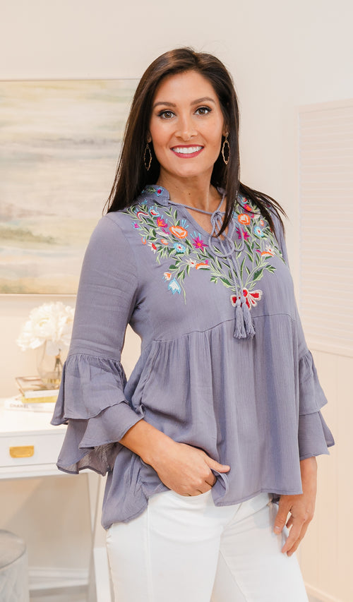 Boho Bliss Top. Grey