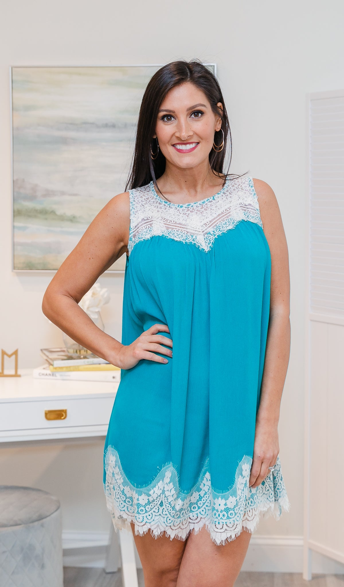 Romantic Touch Dress, Teal