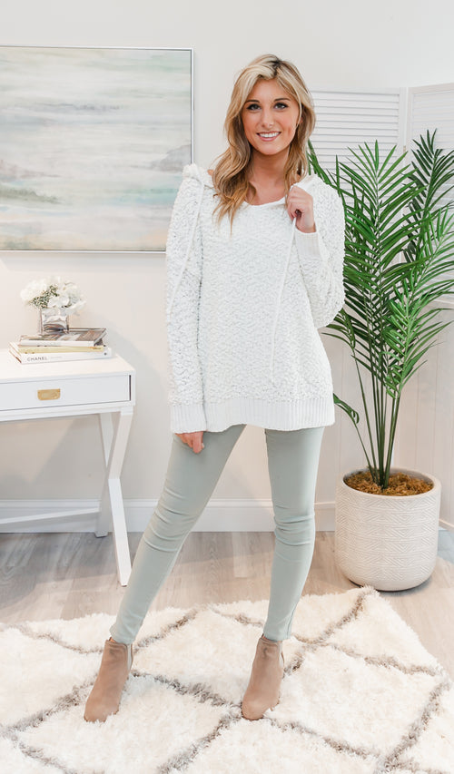 All Day Together Hoodie Sweater, Ivory