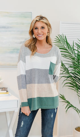 Keeping It Cozy Top - Ivory, Sage