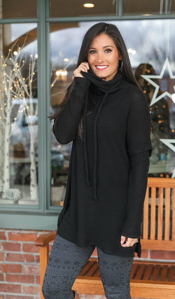 The One You Want Cowl Neck Tunic, Black