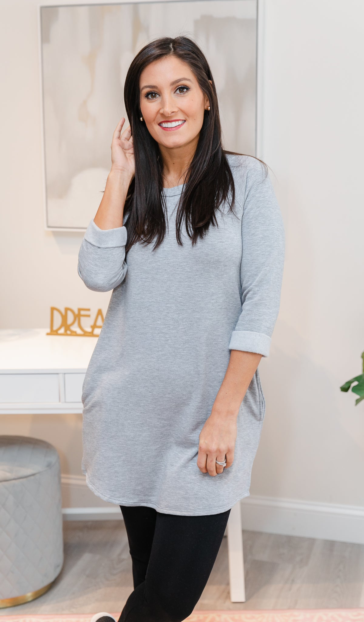 Spending the Day Tunic/Dress, Grey