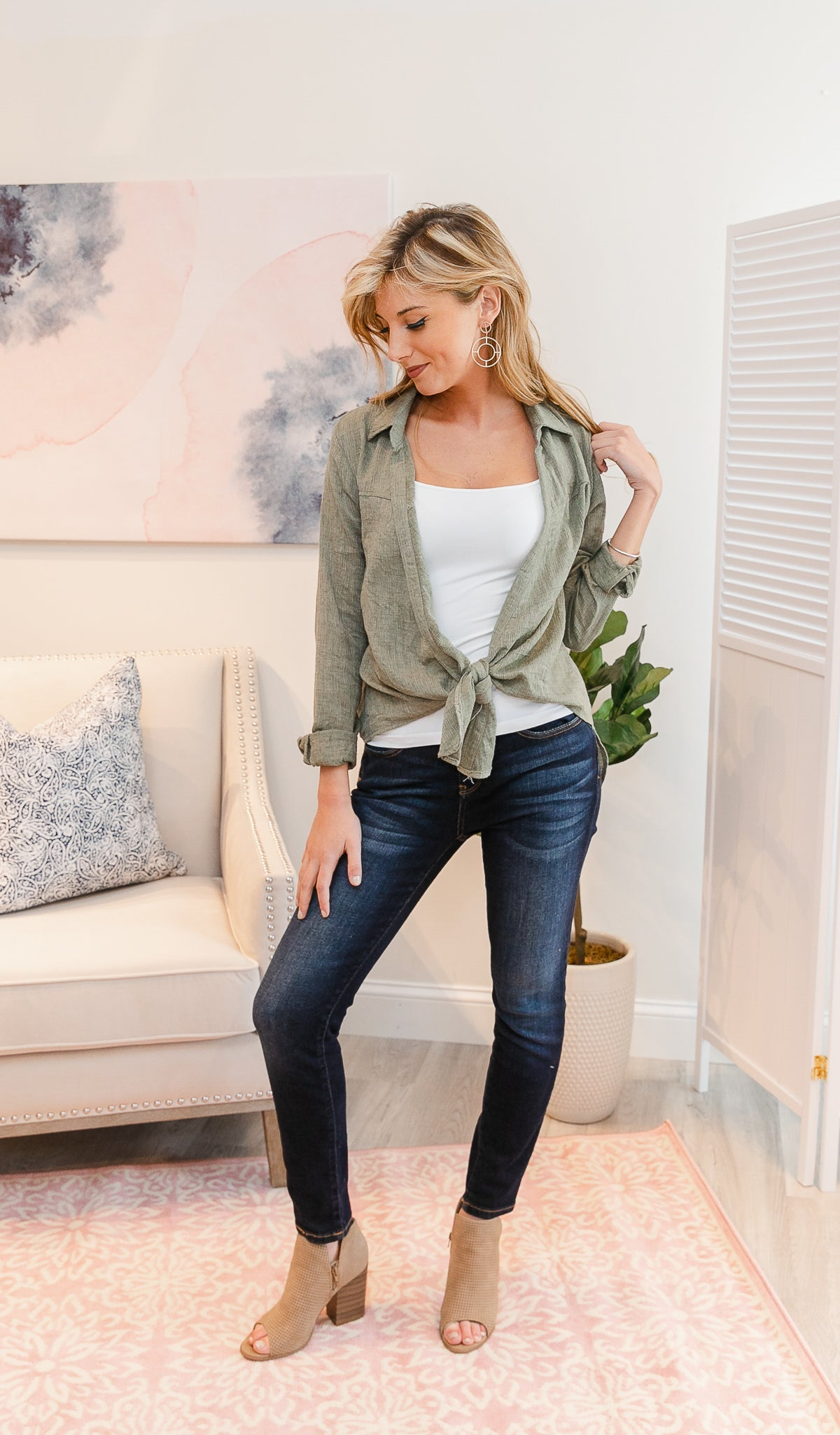Stand Tall Blouse, Olive