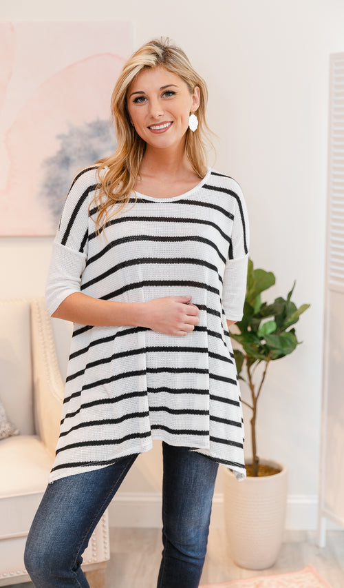 Call It Love Tunic/Top Ivory & Black