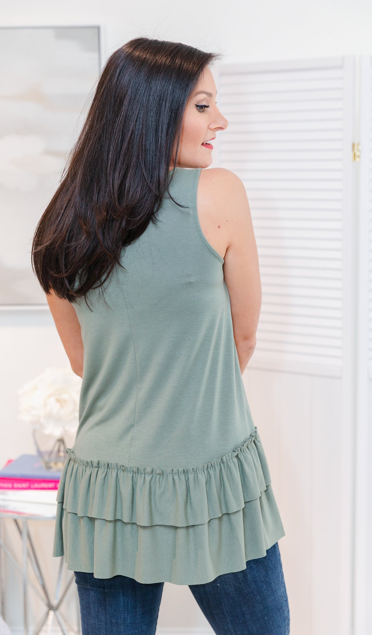 Essential Ruffled Tank, Light Olive