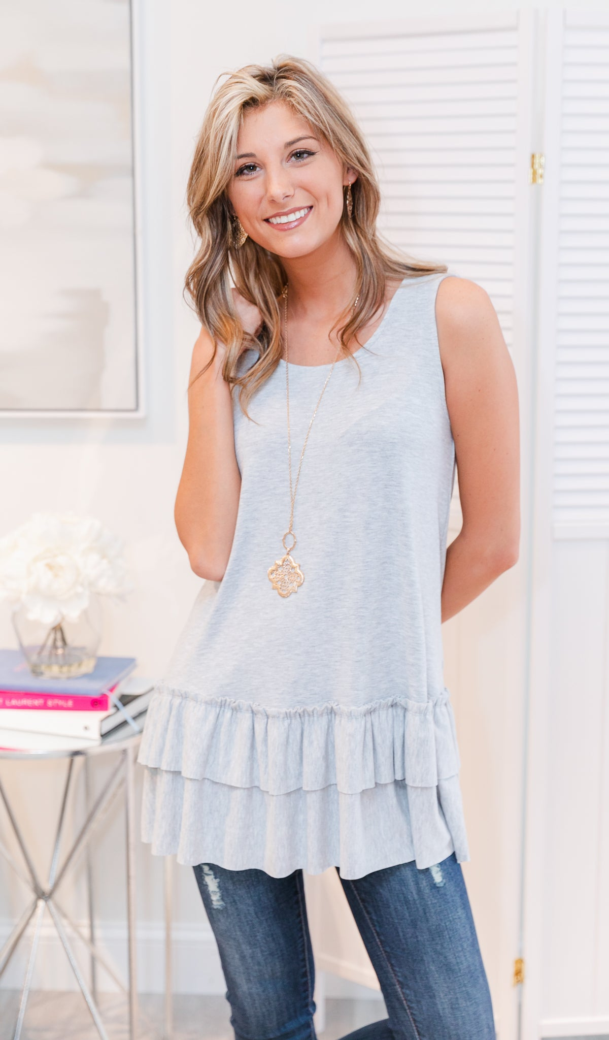 Essential Ruffled Tank, Heather Grey