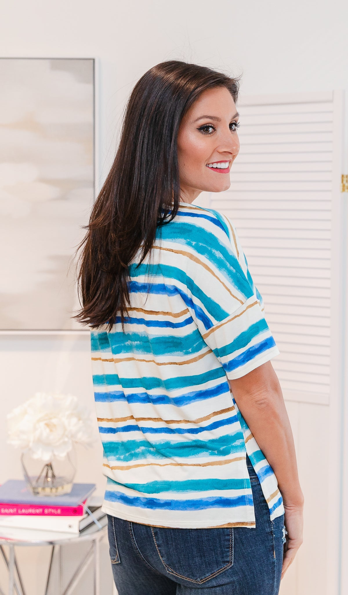Life Of Comfort Top - Ivory, Blue