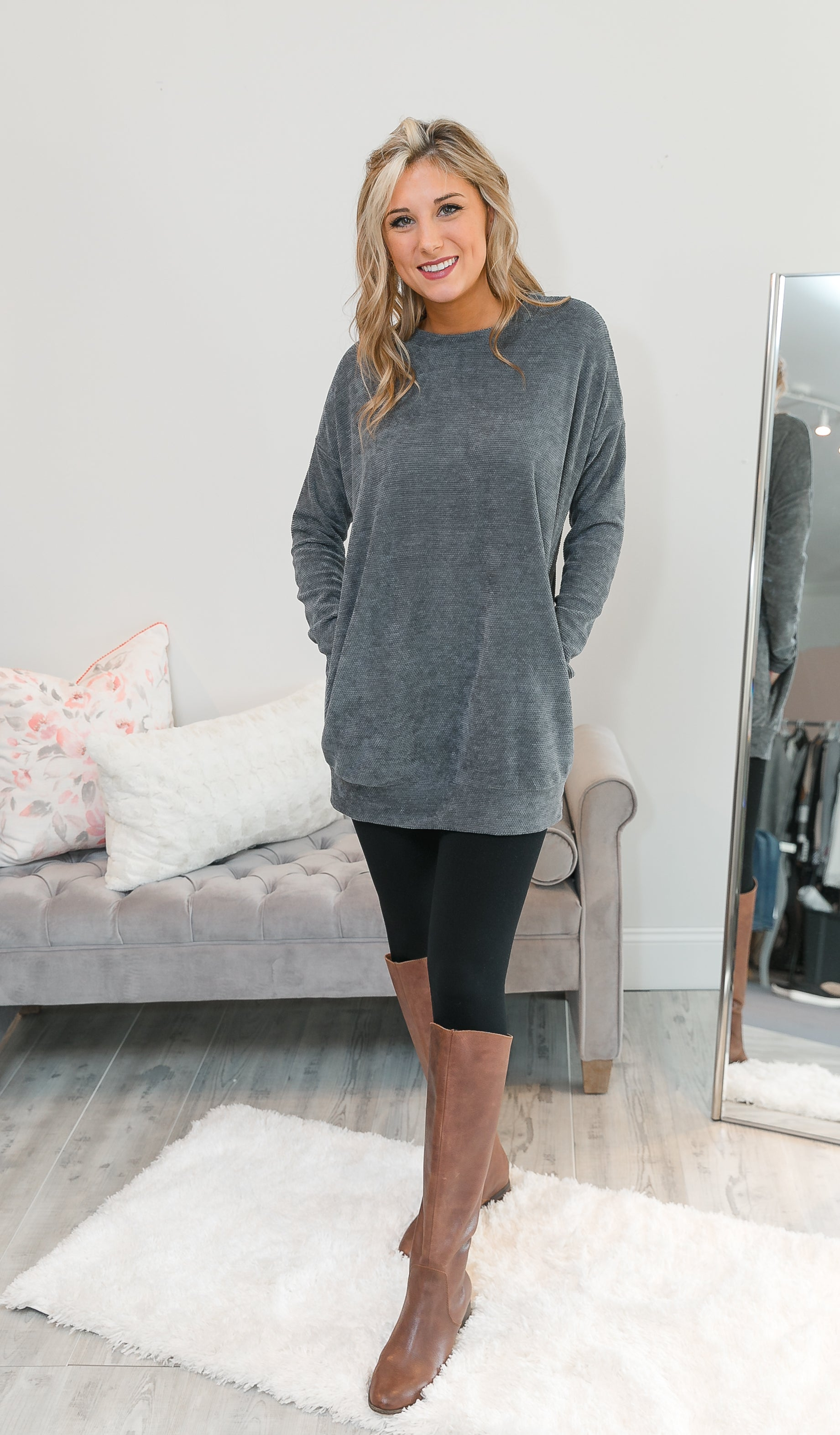 The Perfect Day Tunic, Charcoal