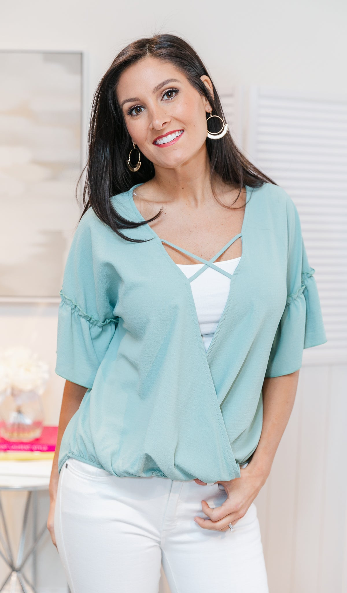 Girl About Town Top, Sage
