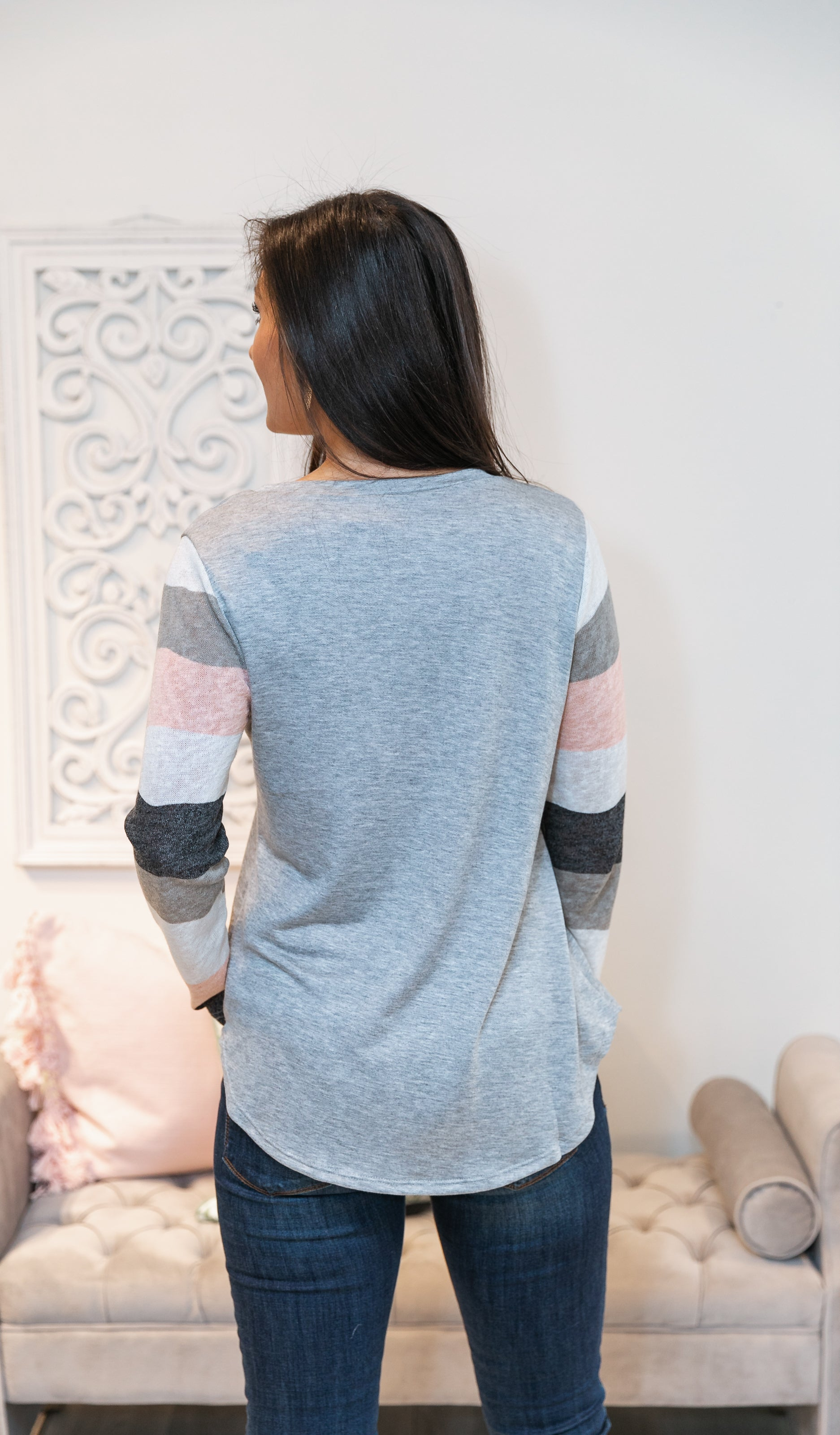 Charming And Curious Top, Grey