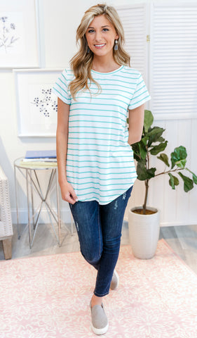 Just What You Need Top - Ivory, Navy