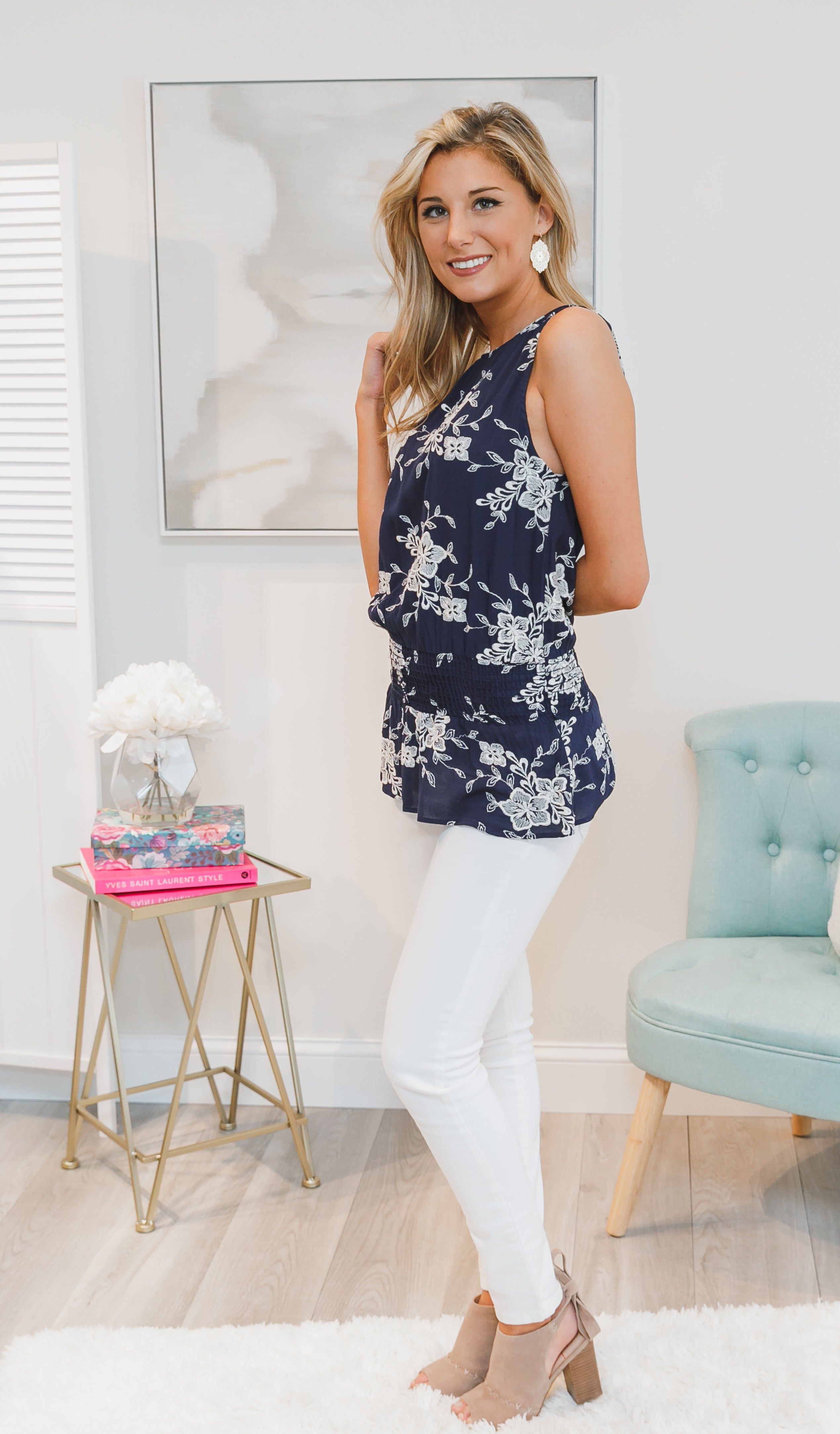 Floral Influence Tank, Navy