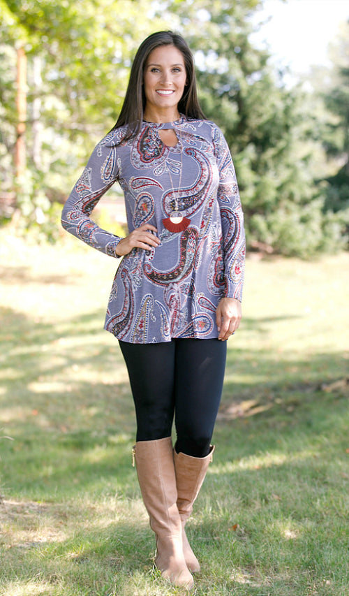 Ready For You Paisley Tunic, Grey