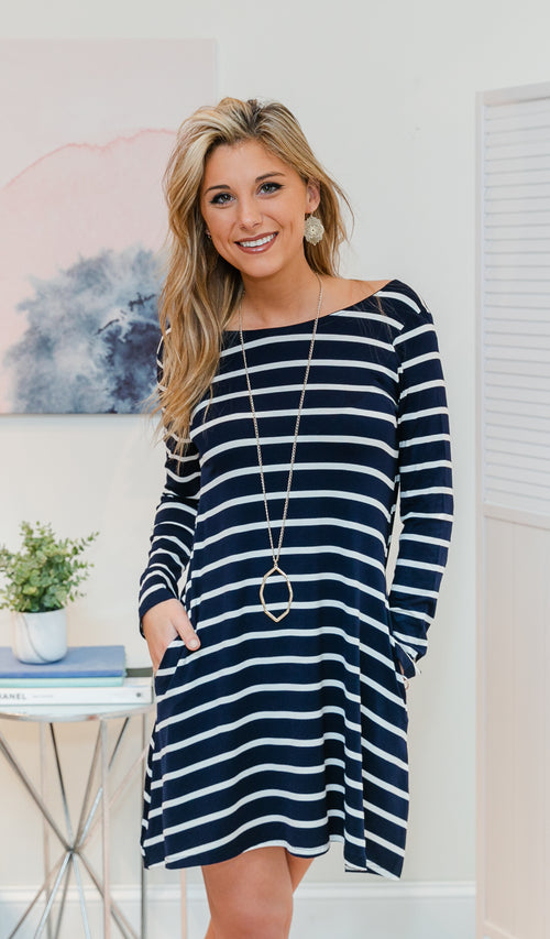 Always Look Your Best Dress - Navy, White
