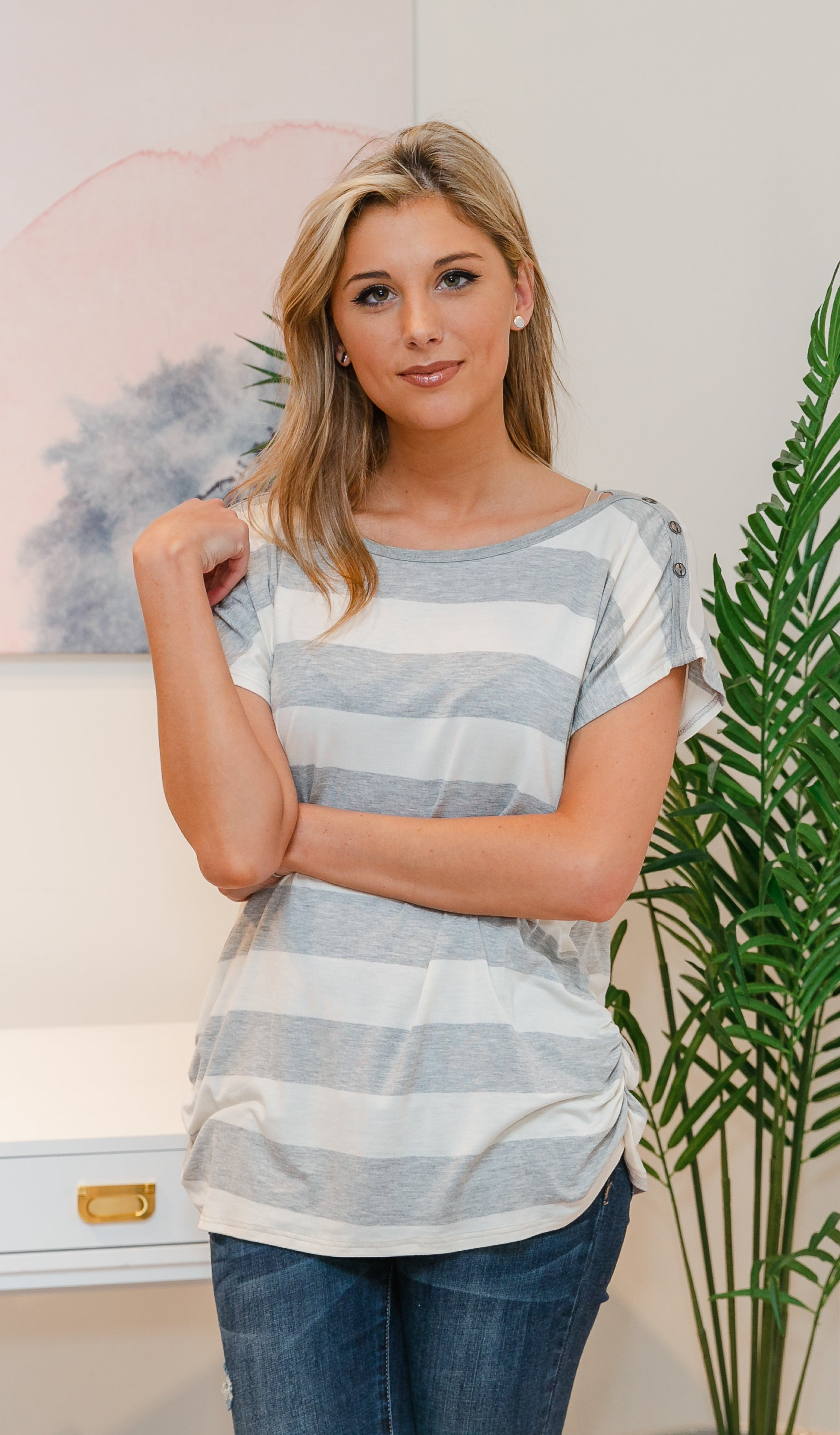 One Less Problem Top - Heather Grey, Ivory