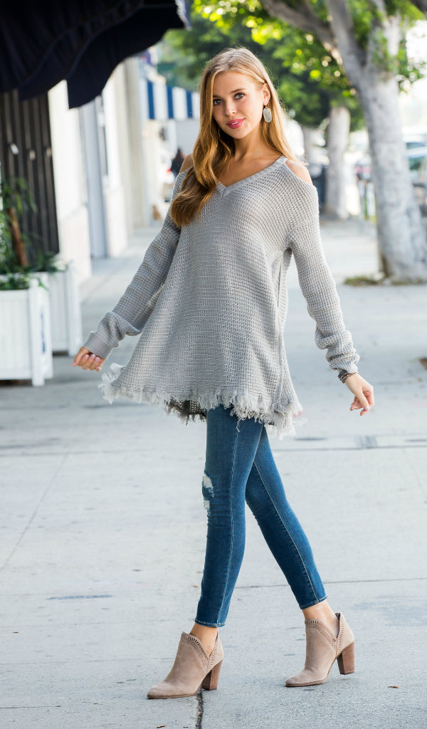 The Romi Cold Shoulder Tunic Sweater, Grey