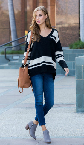 Simply Striped Cardigan - Black, Ivory