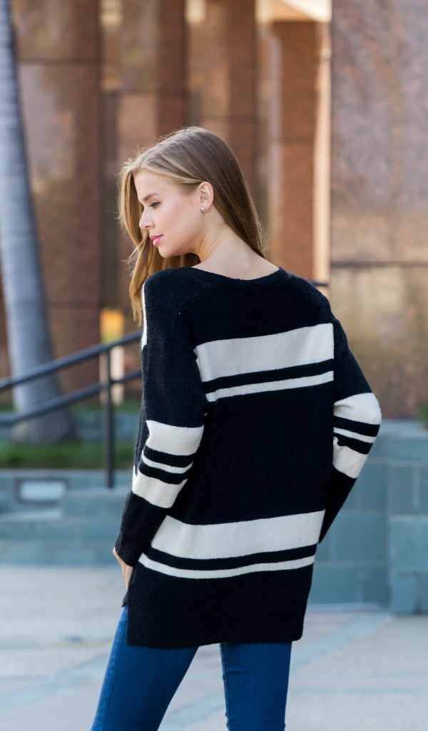 Ivy League Striped Sweater - Black , Cream