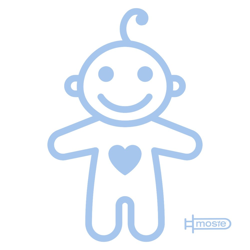 drawing of a smiling baby with a heart on it's chest