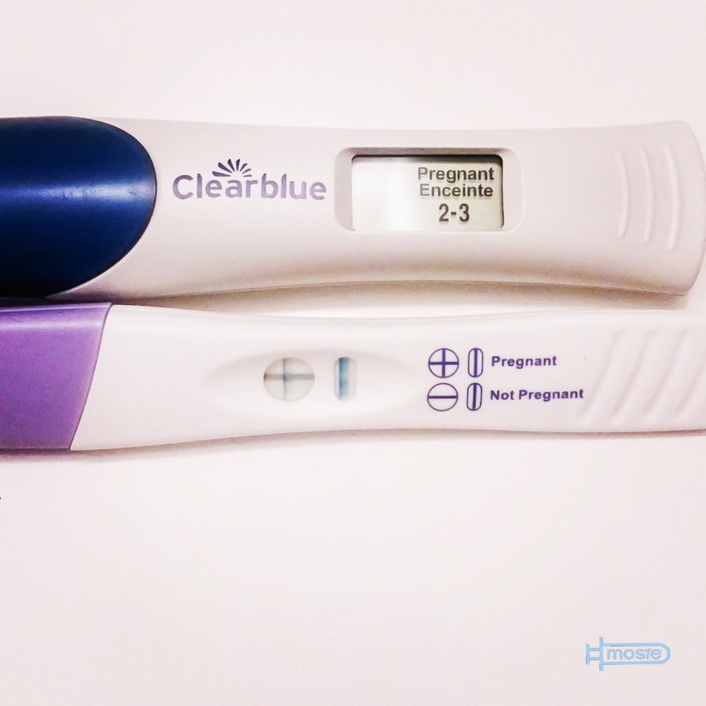 two positive pregnancy tests from a Mosie user