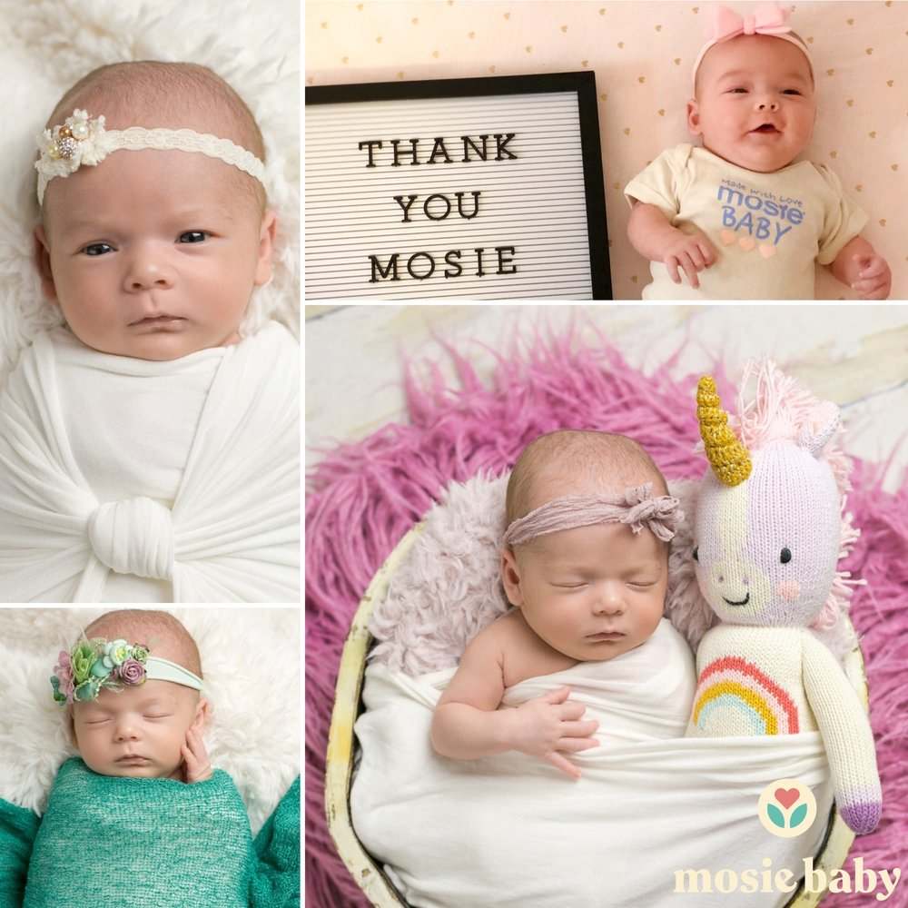 Newborn Mosie Baby four photo collage