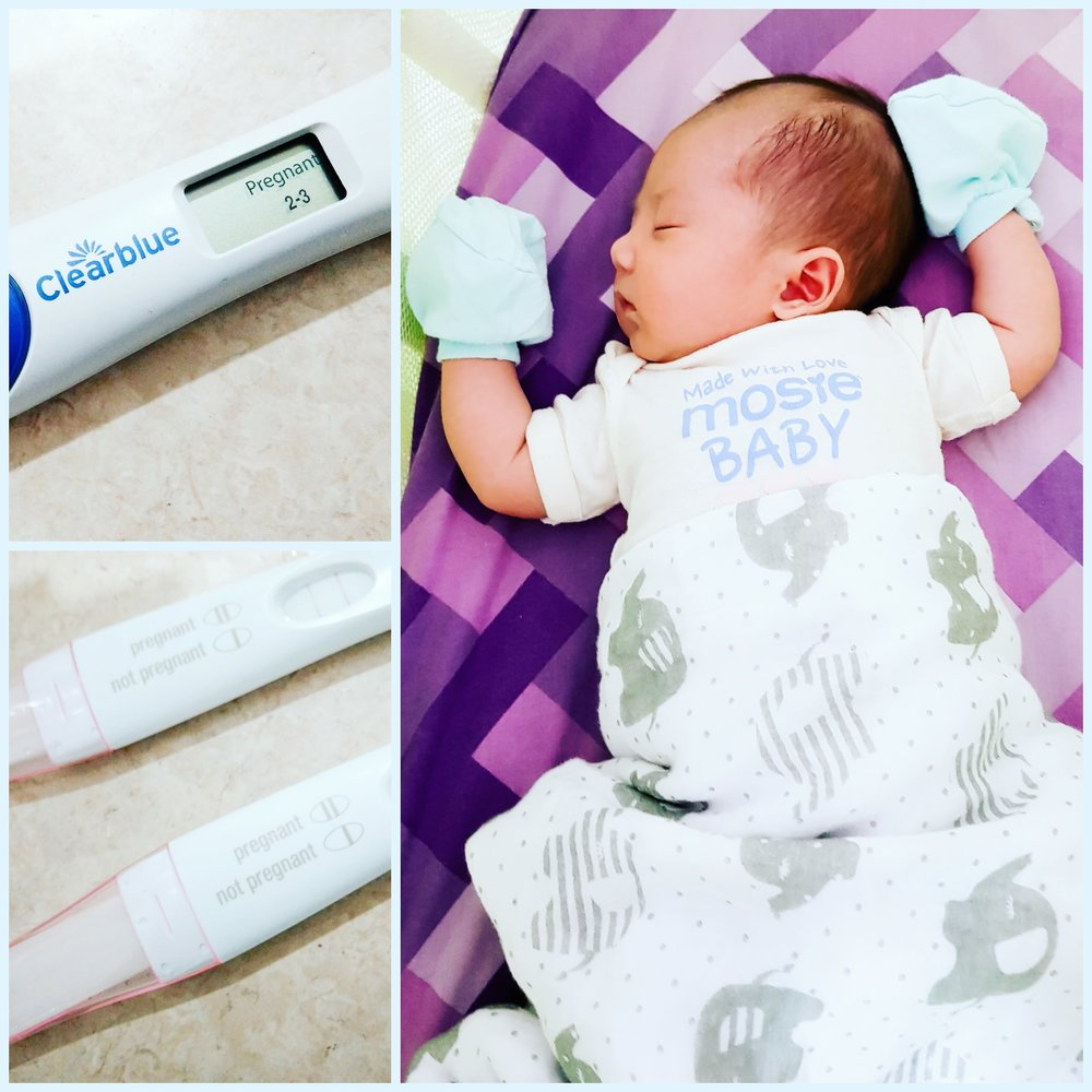 three positive pregnancy tests and a newborn mosie baby