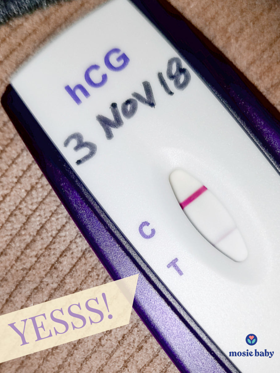 "positive pregnancy test from a mosie user with the word ""YESSS!"""
