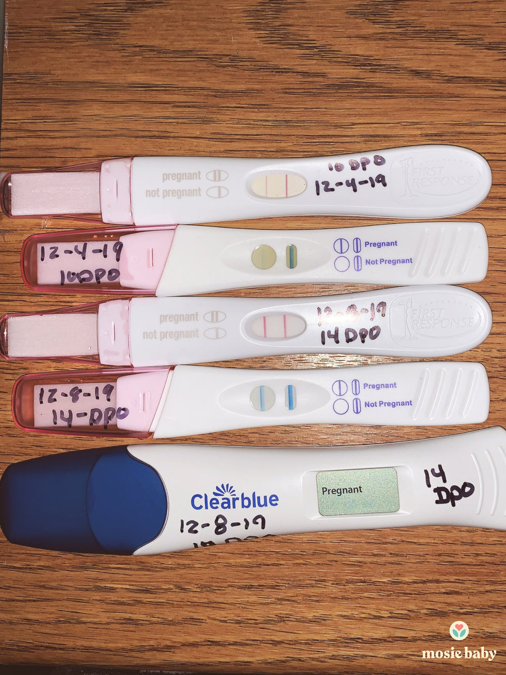 five positive pregnancy tests from a mosie user