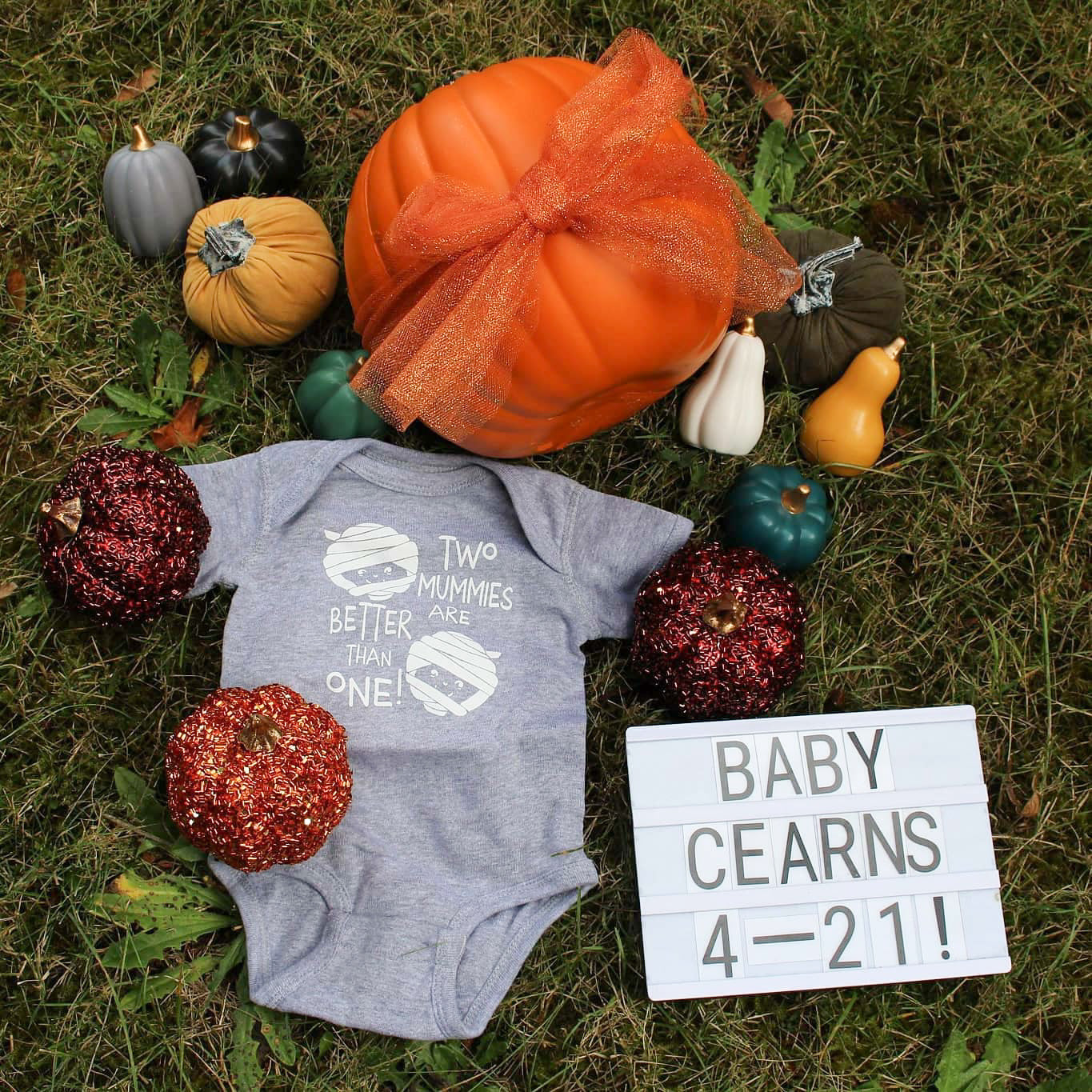 baby announcement with a pumpkin, a onesie that says two mums are better than one, and gourds.
