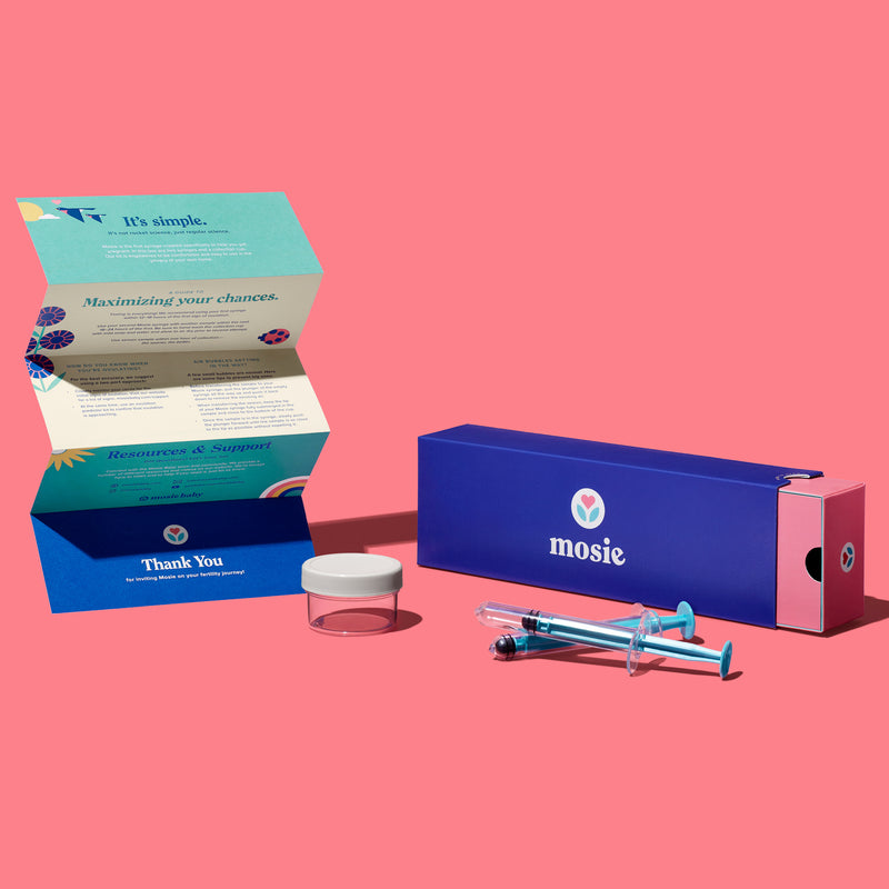 Mosie Insemination Syringe Kit contents including two Mosie syringes, a collection cup, and IFU